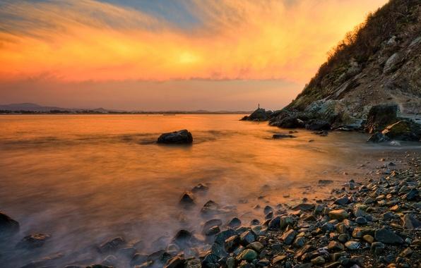 Picture wave, the sky, clouds, landscape, squirt, pebbles, rock, stones, the ocean, shore