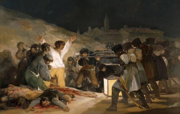 Photo wallpaper genre, picture, The Shooting Of The Rebels Of 3 May 1808, Francisco Goya