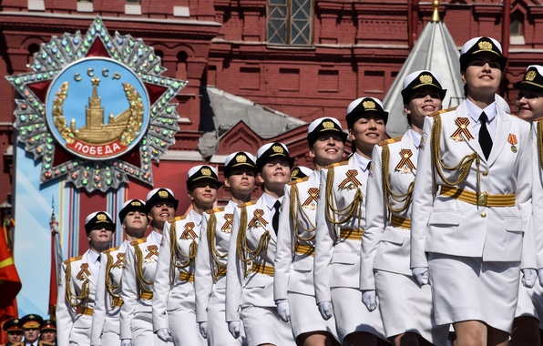 Picture girls, holiday, victory day, parade, red square, Russia, military, defense, May 9, cadets, University