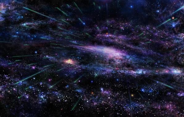 Picture the sky, space, stars, tree, Sakura, art, galaxy, tsujiki
