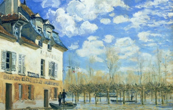 Picture landscape, house, picture, spring, Alfred Sisley, Flood at Port-Marly, floods
