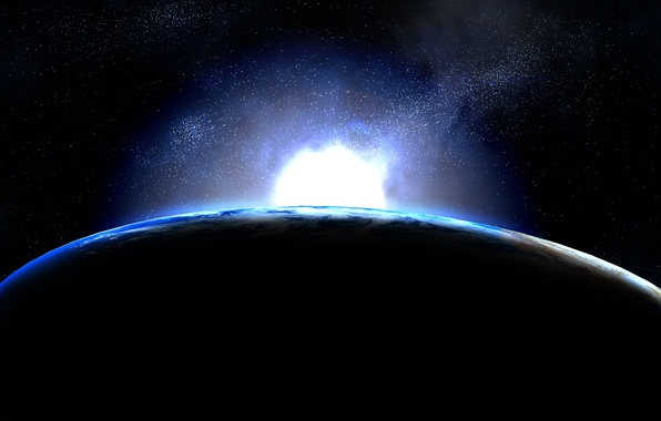 Picture dark, light, blue, planet
