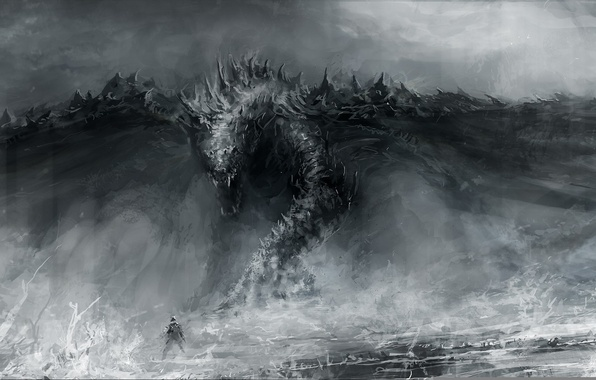 Picture dragon, figure, people, art, mouth, artist, fantasy, Chris Cold