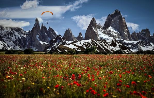 Picture landscape, mountains, sport