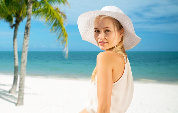Picture sand, sea, look, girl, palm trees, blonde