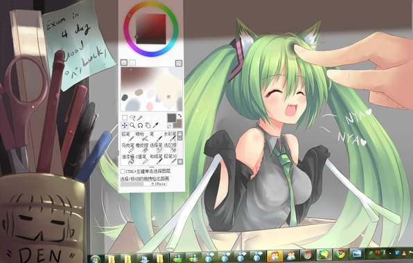 Picture handle, pencil, monitor, vocaloid, hatsune miku, Vocaloid, scissors, windows seven