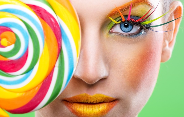 Picture face, eyelashes, style, model, rainbow, makeup, lips, Lollipop