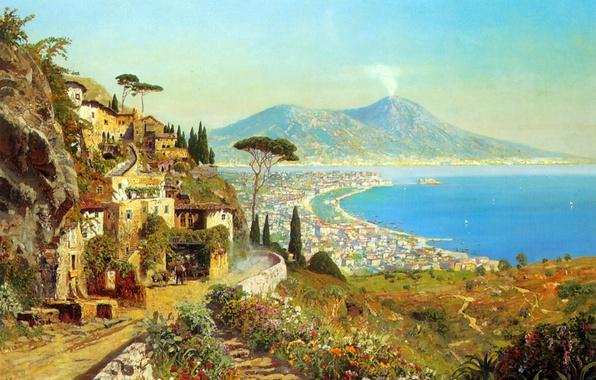 Picture sea, landscape, mountains, the volcano, Italy, Bay, painting, Naples, Alois Arnegger, Vesuvius, The Tyrrhenian sea, …
