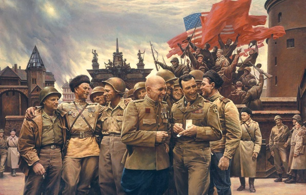 Picture war, victory, USSR, soldiers, flags, USA