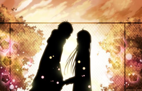 Picture autumn, leaves, girl, love, meeting, feelings, guy, date