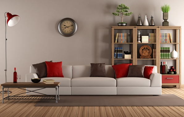 Picture sofa, watch, interior, pillow, library, vintage, living room, living room, interior, clock, couch, pillows, lamb, …