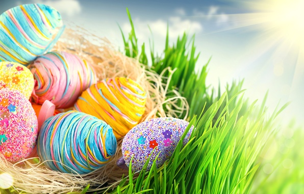 Picture eggs, colorful, Easter, happy, colorful, spring, Easter