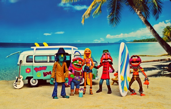 Picture sea, beach, summer, the sky, clouds, solar, Animal, Janice, the coconut palm, surfboards, Volkswagen Transporter, …