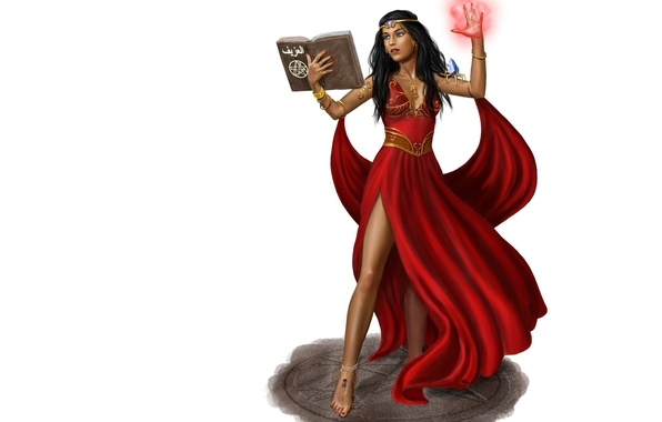 Picture look, girl, fiction, magic, art, book, red dress, witchcraft