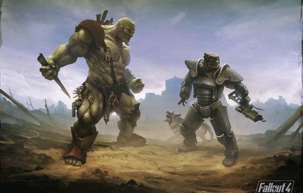 Picture dog, armor, Heath, postapokalipsis, art, Bethesda Softworks, super mutant, fallout 4, the brotherhood of steel, …