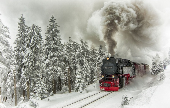 Picture winter, snow, trees, smoke, rails, train, the engine, ate, composition