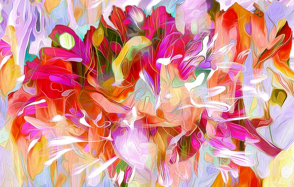Picture leaves, line, flowers, nature, rendering, paint, petals
