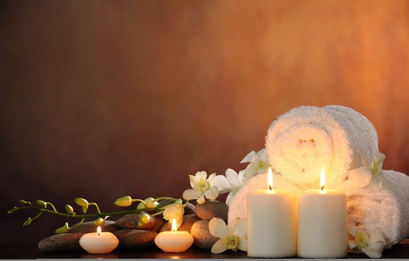 Picture flowers, candles, flowers, Spa, Spa, candles, Spa stones, Spa stones, white Orchid, white Orchid