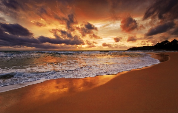 Picture sand, sea, beach, the sky, foam, water, clouds, landscape, the ocean, coast, wave, horizon, tide