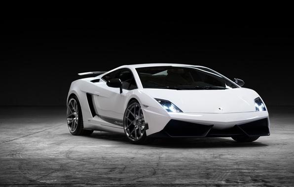 Picture white, background, tuning, Lamborghini, supercar, Gallardo, twilight, Vorsteiner, tuning, the front, Lamborghini, Gallardo