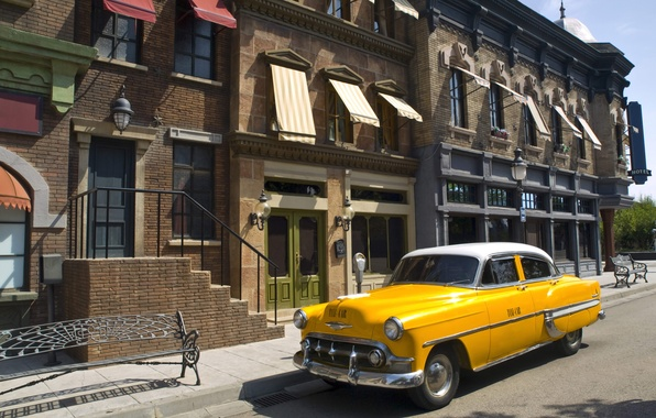 Picture road, auto, the city, street, building, home, taxi, yellow, street, taxi, all, close.