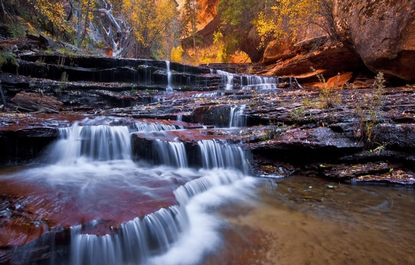 Picture autumn, landscape, nature, river, rocks, waterfall