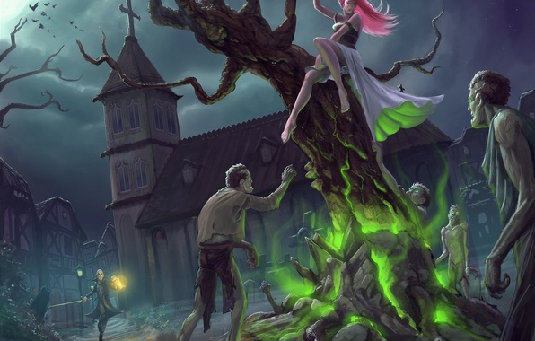 Picture girl, night, fear, tree, magic, the moon, art, zombies