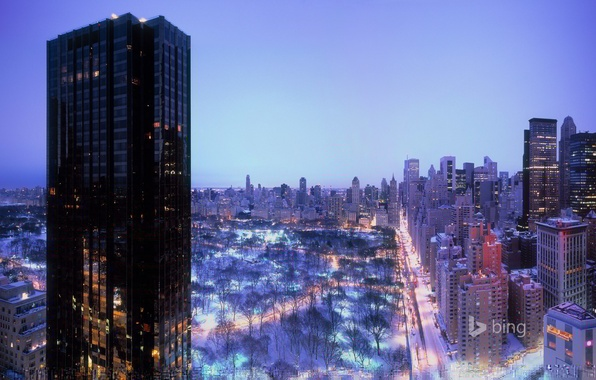 Picture winter, the sky, lights, home, New York, the evening, USA, Central Park