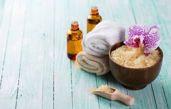 Picture oil, towel, relax, flowers, Spa, still life, salt, spa, salt, wellness