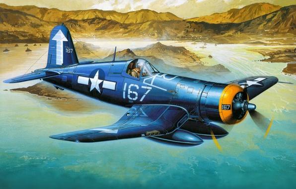 Picture aviation, fighter, art, the plane, American, deck, F4U-1D