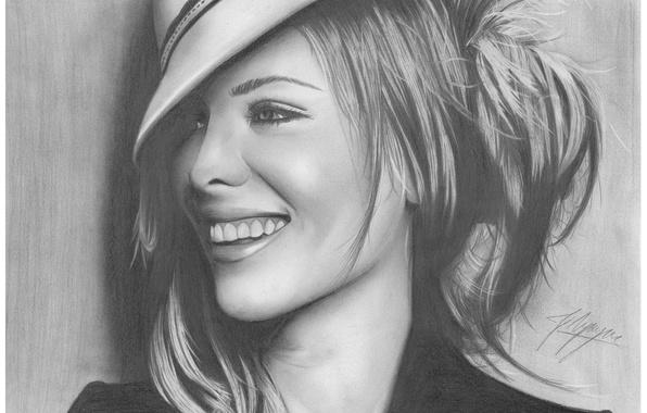 Picture girl, face, smile, figure, portrait, hat, actress, Kate Beckinsale, pencil
