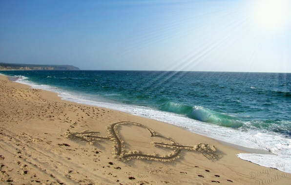 Picture sand, beach, love, romance, heart, figure, love, sunshine, beach, sea, heart, sand, design by Marika