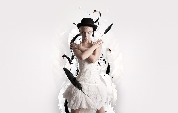 Picture hat, feathers, White, dress