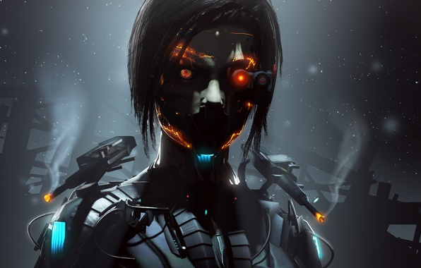 Picture eyes, girl, face, fiction, robot, cyborg