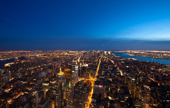 Picture night, the city, lights, New York, megapolis
