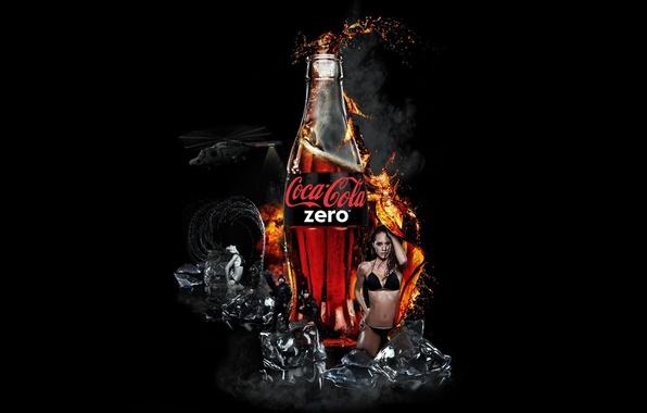 Picture BACKGROUND, DROPS, ICE, BLACK, DRINK, BOTTLE, SQUIRT, BRAND, COCA-COLA, ZERO, COCA-CALO
