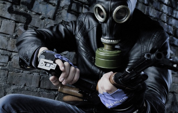 Picture weapons, brick, jacket, gas mask, shop, clip, filter, AK 74