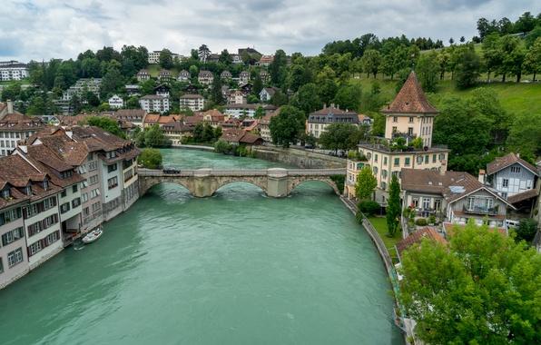 Picture bridge, river, building, Switzerland, Switzerland, Bern, Bern, Aare river, Aare River