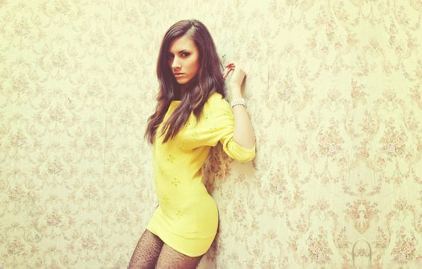 Picture Girl, Look, Wall, Girl, Hair, Wallpaper, Dress, Yellow, Beautiful, Wall, Wallpaper, Yellow, Eyes, Beautiful, Hair, ...