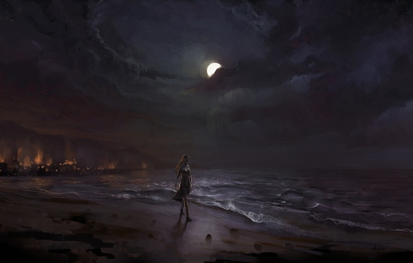 Picture sand, sea, girl, night, the moon, shore, art, surf, walk