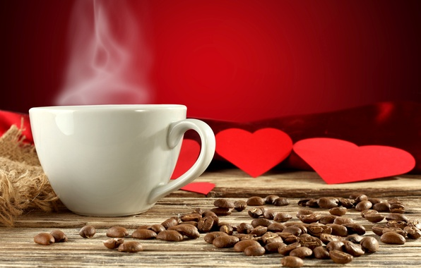 Picture background, heart, coffee, heart, couples, Cup, hearts, red, white, drink