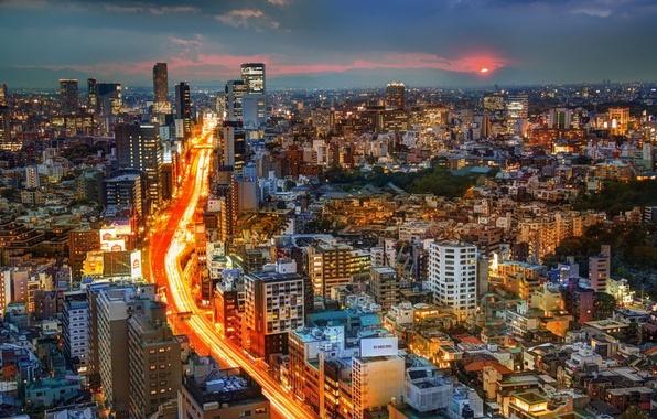 Picture road, sunset, building, Japan, Tokyo, panorama, Tokyo, Japan, night city