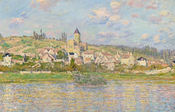 Photo wallpaper the city, landscape, home, Vétheuil, picture, Claude Monet