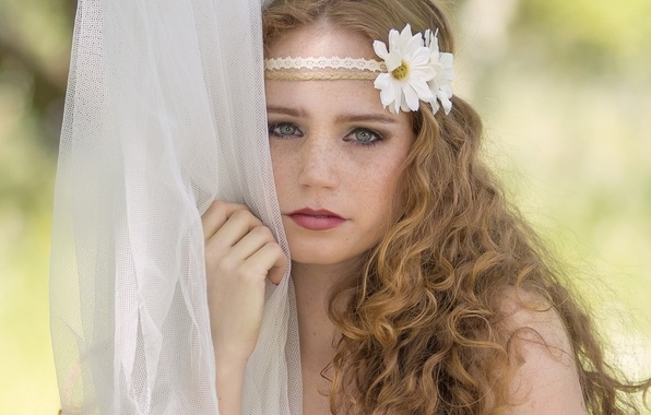 Picture look, flowers, face, mood, chamomile, freckles, red, curls, redhead, braid, tulle, freckled, Helena Ferreira