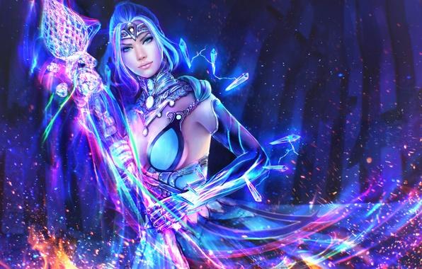 Picture girl, magic, beauty, art, MAG, staff, guild wars, Elementalist