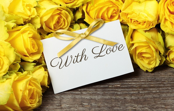 Picture roses, bouquet, yellow, flowers, romantic, roses, with love
