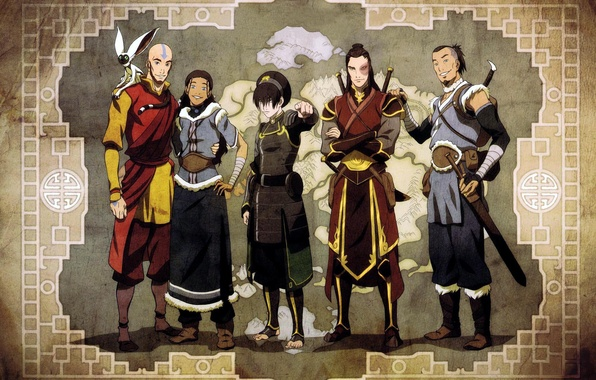 Picture map, Avatar, Avatar, friends, Toph, Zuko, Juice, Momo, Aang, Qatar, The Legend of Korra