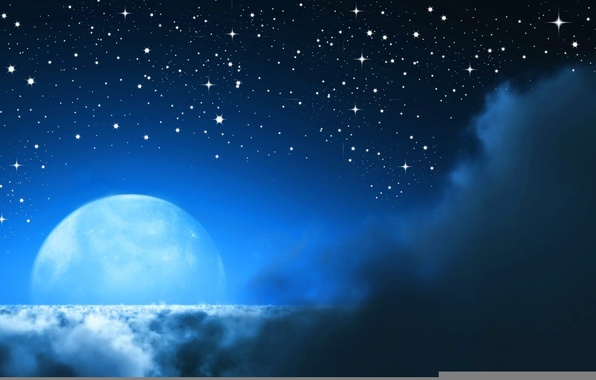 Picture Clouds, Night, The moon, Stars