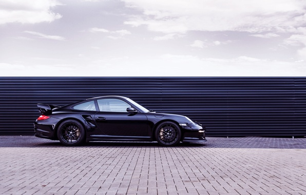Picture Auto, Black, 911, Porsche, Machine, Day, GT2, Sports car, Side view, OK-Chiptuning