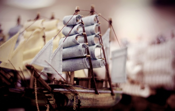 Picture macro, toy, ship, blur, sails, wooden, boat, the ship, mast